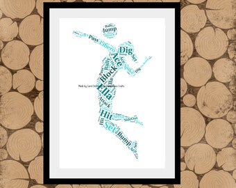 Volleyball Print, Personalised Volleyball Print, Volleyball Word Art, Volleyball Word Collage, Gift For Volleyball Coach, Volleyball Team