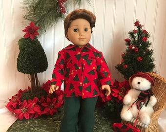Christmas Pajamas and slippers, American Boy Doll