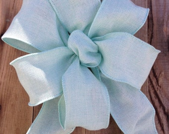 Burlap bows Pastel light Aqua Mint Green Bow ribbon Chair Pew burlap look wedding gift bows garland spring summer decoration