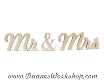 """4"""" Wooden Mr and Mrs Photography prop Unfinished , Wooden Alphabet Letters, DIY, Engagement, Wedding Decor, Mr & Mrs"""