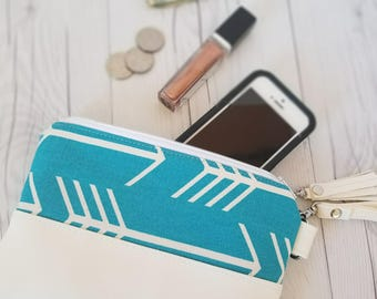 Teal Turquoise Wristlet - Wristlet Wallet - Womens Wallet - Faux Leather - Small Crossbody - Phone Wallet - Wristlet Purse - Bridesmaid Gift