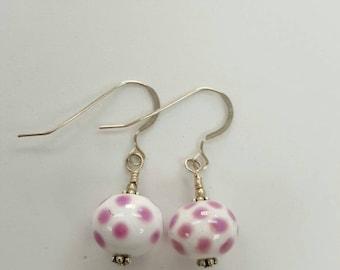 Handmade glass lampwork sterling silver earrings