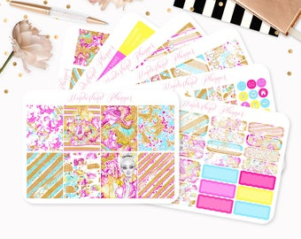 The Glitterati - Sticker Kit or A La Carte Sheets - Neon Glitter Themed Planner Weekly Kit - 180+ Stickers - Erin Condren Vertical Planner