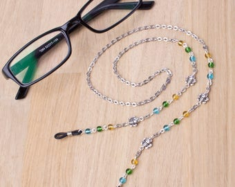 Bee eyeglasses chain - happy bee and colorful beads glasses chain |  Beaded eyewear neck cord | Sunglasses lanyard | Eyeglasses holder