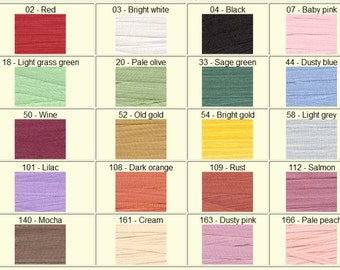 7mm Silk Ribbon - 100% pure silk - 5m or 10m - loads of colours. Embroidery, Crafts, Miniatures.