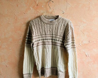 Mens Ski Sweater Medium Tan 100% Wintuk Orlon/ Acrylic by Jerome