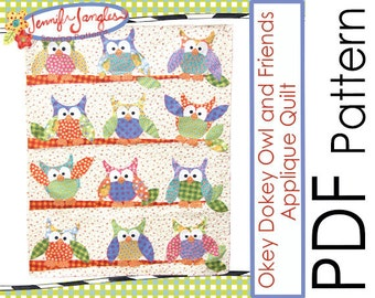 PDF Owl Quilt Sewing Pattern - Okey Dokey and Friends Applique Quilt