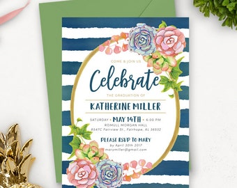 College Graduation Invitation Template / Succulent Graduation Announcement / Graduation Party Invitations Printable