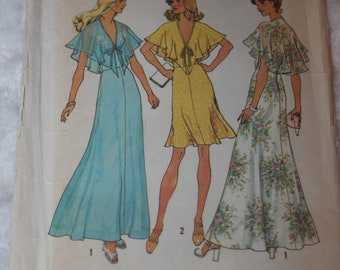 UNCUT Vintage 1970s 1975 Simplicity 6898 Sewing Pattern Misses' Junior Halter shawl cape Dress in two length Size 8 Bust 31.5