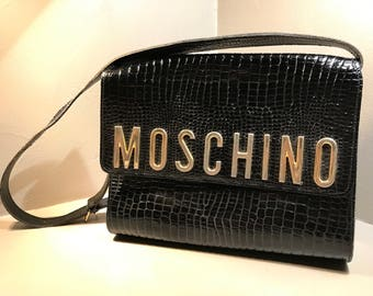 Moschino Vintage Messenger bag Years ' 80 a leather shoulder strap effect crocodile Redwall