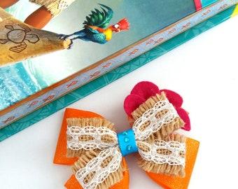 Moana Hair Bow, Orange, Beige, Pink, Headband,Fancy Dress, Hessian Lace, Jute Burlap,Hair Accessory, UK