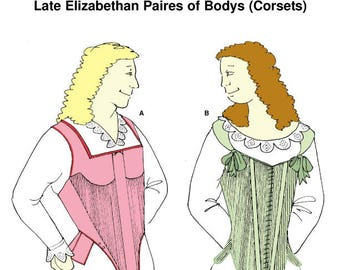 RH203 Elizabethan Corsets Sewing Pattern TO CLEAR. Reconstructing History 16thc Elizabethan corset sewing pattern
