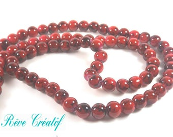 25 8mm painted red marbled black glass beads