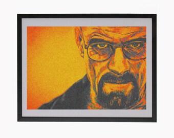 Walter White Printable Portrait Breaking Bad Illustration Heisenberg Art Print Instant Digital Download Drawing