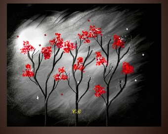 Abstract Landscape Art Prints- Blossoms and Butterflies- Free Shipping inside US.