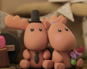 moose Wedding Cake Topper