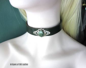 Russian Seraphinite Choker, Green Leather Choker, Forest Green Leather, Ready to Ship