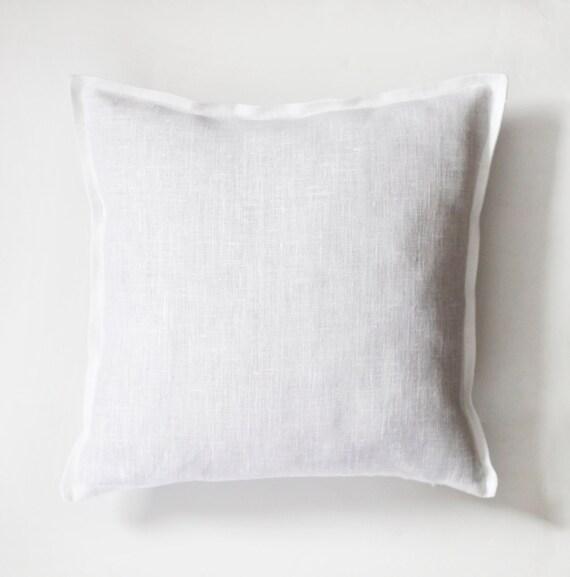 White pillow - white pillow cover - white natural fabric pillow cover  - linen decorative pillows - white euro shams -  sofa pillows  0035