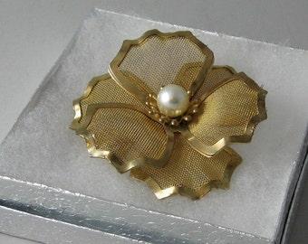 Vintage Flower Pin,  signed B.E.D., goldtone mesh