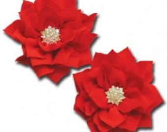 Maya Road Shimmering Pointed Petal Flower - Cadmium Red