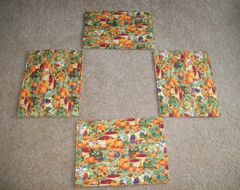 Set of 4 Pretty Pumpkin Fabric Placemats--Free Shipping