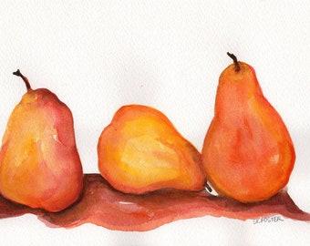 Pear watercolor painting,  Farmhouse Decor kitchen art 7 x 10, original watercolor, pear painting, kitchen decor, fruit watercolor art