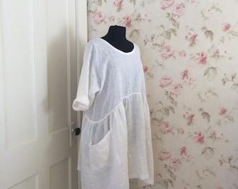 White Linen Dress * Romantic Ruffles * Linen Dress * Lagenlook * Prairie Dress * Ready To Ship