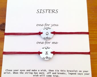 Sisters Wish Bracelets, Personalised Gift, Sisters Love, Matching,Make a Wish,Sorority Sisters, Birthday gift,