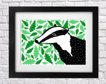 Windy Days Badger Print - nursery print - illustrated print - lino print - digital - weather - leaves - badgers - leaf - black and white