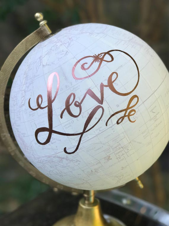Wedding Guest Book Globe/WHITE WASHED w/Rose Gold or other color ink / custom calligraphy - Great for weddings or baby's nursery