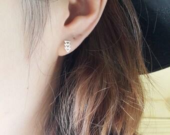 925 Sterling Silver Minimal Triple Triangle Earrings