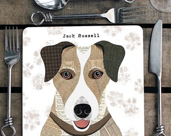 Jack Russell personalised placemat/coaster