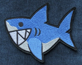 "Shark Iron On Patch, Large 5"" high by 6.25"" wide, Jaws, Shark Teeth, Embroidered Patch"