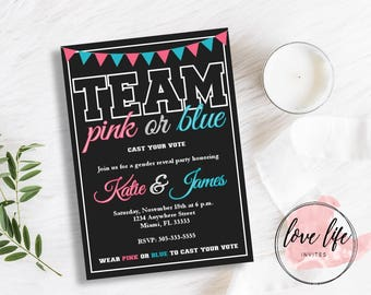 Pink and Blue Team Gender Reveal Invitation | Gender Reveal Invitation | Team Pink Team Blue | Baby Shower Invitation | Gender Reveal Invite