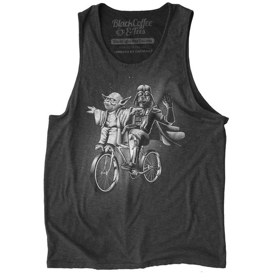 Star Wars Tank Top - Mens Star Wars Shirt - Yoda & Darth Vader Riding a Bicycle Hand Screen Printed on a Mens Tank Top - Mens Workout Tank