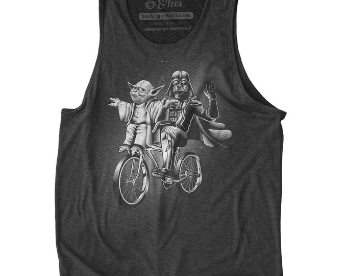 Star Wars Tank Top - Mens Star Wars Shirt - Yoda & Darth Vader Riding a Bicycle Hand Screen Printed on a Mens Tank Top - Mens Workout Tank