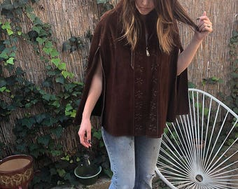 Vintage Suede Cape Leather Poncho