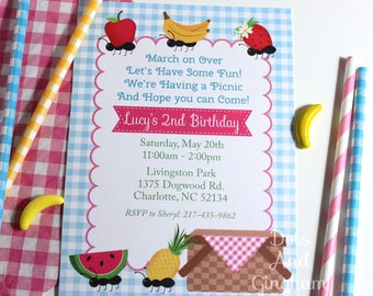 Picnic Birthday Invitation-Picnic Invitation-Picnic Basket Invite-Watermelon Fruit Invitation-Gingham Basket-Farmers Market-Picnic Birthday