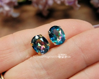 Peacock Blue Rainbow Mystic Topaz 1pc 10x8mm Oval in Silver or Gold Plated Setting Jewelry Making Supply Loose Gemstone November Birthstone