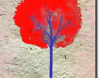 Map double Red Tree 12.5 cm x 17.5 cm