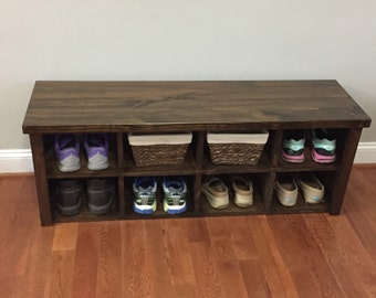 Lovely Rustic Shoe Bench With Cubbies
