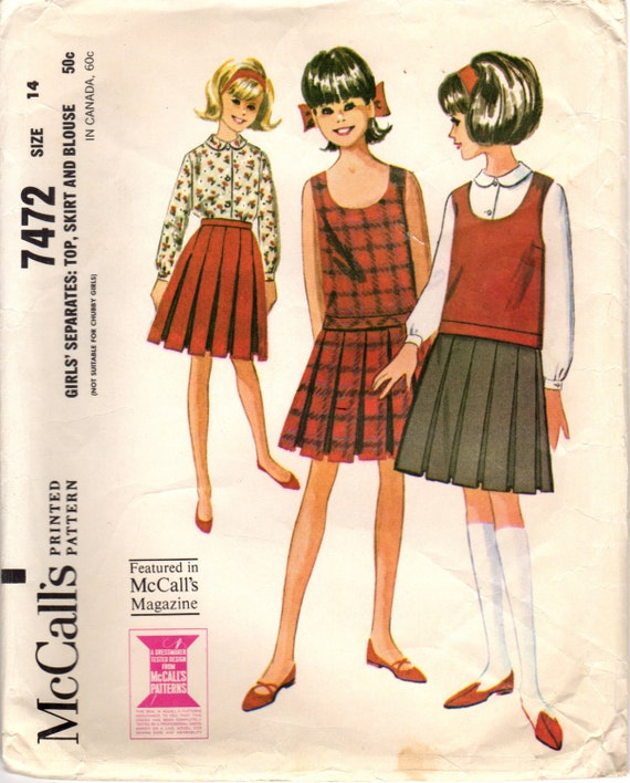 1960s McCall\'s 7472 Vintage Sewing Pattern Girl\'s Top, Pleated Skirt ...