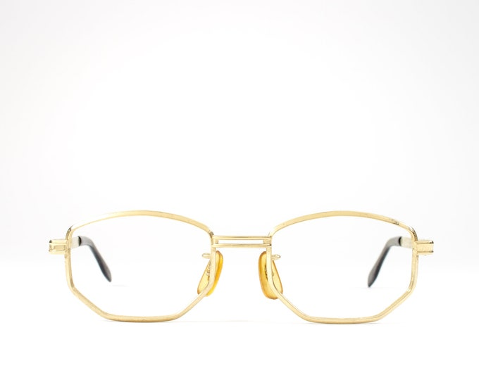 Vintage Eyeglass Frame | 70s Glasses | 1970s Geometric Eyeglasses | Unique Gold Eyeglass Frame - Auto