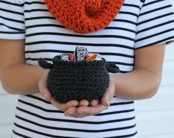 Crochet Cauldron /  Halloween Decor / Trick Or Treat Gift