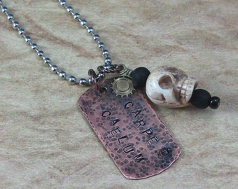 "Carpe Caelum ""Seize The Sky"" Hand Stamped Copper Pendant with Bone Skull, Copper Dogtag Pendant, Steampunk Necklace, Airship Captain Pendant"