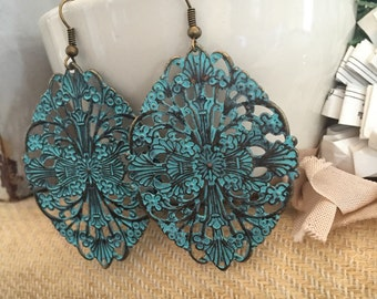 Handmade Turquoise Metal Filigree Dangle Earrings