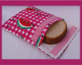 Sandwich Bag / Ecological Bag / Snack Bag / Snack Bag / Reusable Bag / Zero Waste / MOTIF: Melon and Ants