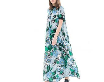 Blue and Green  Silky flowing maxi dress