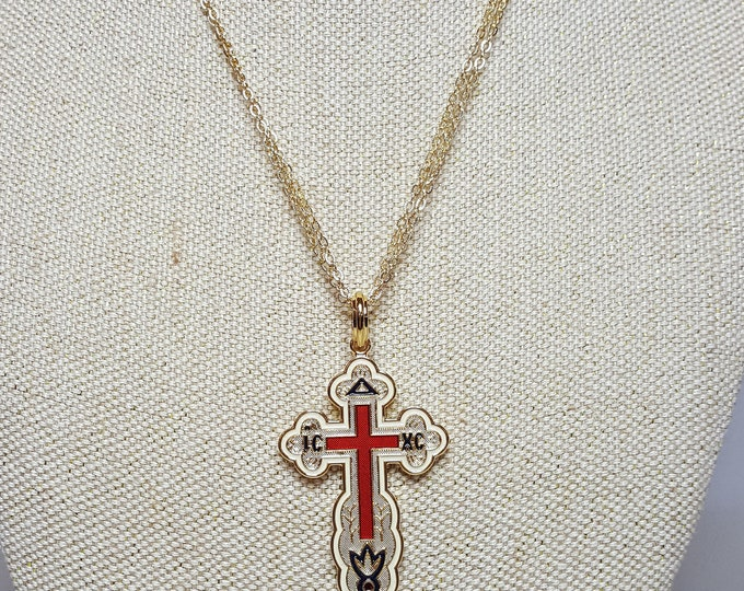 Jackie Kennedy Camrose and Kross JBK Yellow Gold Plated and Enamel Russian Orthodox Cross Pendant