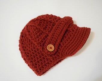 Berry Newborn baby hat ,Crochet newsboy hat , crochet baby boy hat, crochet girl hat, newborn baby hat, crochet baby hat